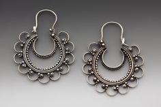 Earrings | Juan Garcia Alfaro. 'Luna Creciente /Crescent Moon'. Oxidized sterling silver.