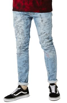 Main Image - Topman Doodle Print Stretch Skinny Fit Jeans
