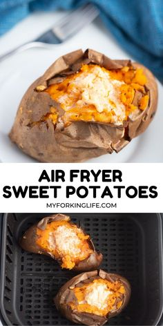 This Healthy Air Fryer Baked Sweet Potato is the perfect way to make fluffy sweet potatoes quickly. They're crispy on the outside and fluffy on the inside. Air Fryer Dinner Recipes, Air Fryer Recipes Easy, Potatoe Casserole Recipes, Sweet Potato Recipes, Air Frier Recipes, Sweet Potato Skins, Cooking Recipes, Healthy Recipes, Cooking Food