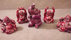 WOODEN CARVED BUDDAS AND THEIR ELEPHANT VERY NICE WORK SET OF 5