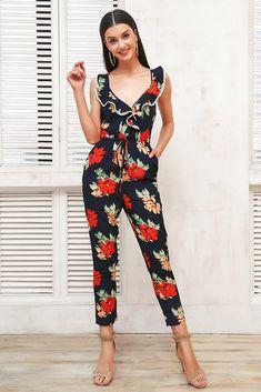 314b9207bfa4 Women s Cross V-Neck Floral Print Jumpsuit