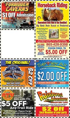 Smoky Mountains - Pigeon Forge Coupons - Gatlinburg Discount Coupons Gatlinburg Coupons, Gatlinburg Attractions, Pigeon Forge Attractions, Gatlinburg Vacation, Gatlinburg Tennessee, Tennessee Vacation, Picnic Cafe, Smoky Mountains Attractions, Mountain Vacations