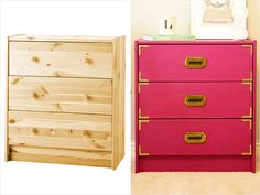 Ikea's popular Rast chest, a 3-drawer dresser for $34.99. Using high gloss paint in a pinkish plum, campaign style drawer pulls and brass flat corners