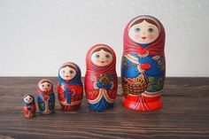 Russian nesting doll. Russian matryoshka nesting doll, 5 pieces Made of lime tree. Hand painted with tempera. As a basis is taken the traditional painting of the Russian North – Boretsk painting. All the subjects are unique and depict traditional Russian way of life. It will become a