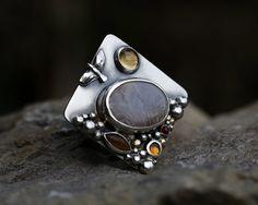 Connecté l'agate dendritique – réflexion –, citrine, tigre, or et argent sterling anneau