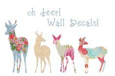 Beautiful Deer Vintage Floral Decals by sewablesofties on Etsy, $15.00