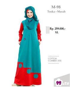 Baju Gamis Mutif M-98 Toska Merah