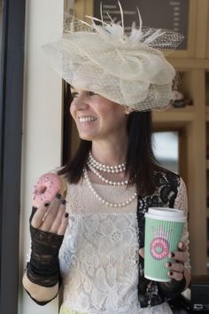 Lace dress and fascinator at River Oaks Donuts