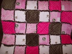 Baby Pink John Deere and Minky Rag Quilt by BlessingfromtheHeart, $35.00