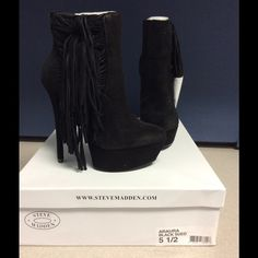 "Steve Madden Suede Fringe Boots New in box Araura black suede fringe 1.5"" platform and 5.5"" heel Steve Madden Shoes Ankle Boots & Booties"