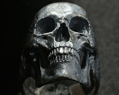 Skull ring Decayed open jaw silver mens skull biker by Bakogiorgis