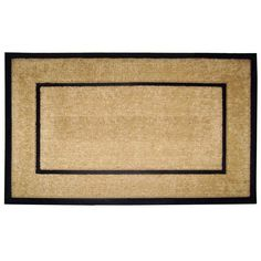Creative Accents Coir and Rubber Frame 48 x 30 in. Line Border Door Mat with Optional Personalization - 18104-PERSONALIZED