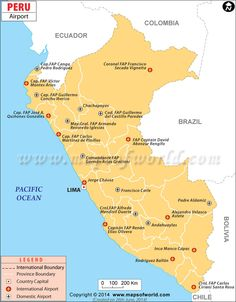 peru airports map marks the location of all major airports in peru view the list of all major domestic and international airports