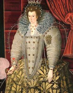 """Portrait of unknown lady, Portrait at Parham House. Roy Strong says this isn't Elizabeth I--it's Queen Anne (nee of Denmark) So wrong. Mary Queen Of Scots, Queen Elizabeth, Queen Anne, Tudor History, British History, Historical Costume, Historical Clothing, Female Clothing, Anne Of Denmark"