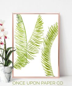 Pure Fern leaf in watercolour, captured for its simple lines and vibrant colour. This is a bright green abstract print, botanical in nature and sophisticated for any boho or classic feature. Three leaves together painted using a small brush for each tiny leaf. Fern print for floral