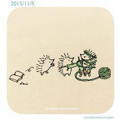 """namiharinezumi: """"661 編み物2 knitting 2 """""""