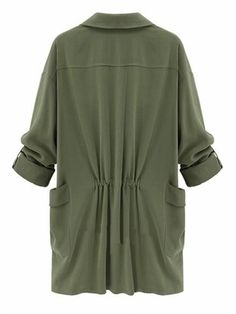 A solid color long coat. Turn-down neckline flows into the open placket. Long sleeves and front pockets. Unlined.  Material:Polyester COLOR: Army Green. Dark Green (almost black). Deep Blue.