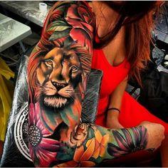 Lion tattoos for women - best lion tattoo tattoos art ideas Leo Tattoos, Future Tattoos, Girl Tattoos, Tatoos, Dream Tattoos, Black Tattoos, Full Sleeve Tattoos, Sleeve Tattoos For Women, Tatto Sleeve