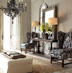 wing back chairs, chair fabric, living room, chandelier, console table, antique mirror, new and old, traditional, wallpaper, trim