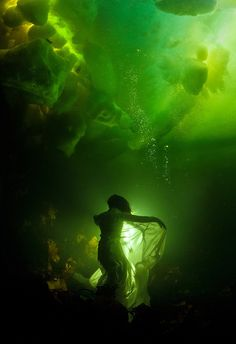 "Ophelia - Two-time world champion free diver Natalia Avseenko beneath the ice. The water temperature minus Polar circle, White Sea, Russia ""Ophelia"" by Viktor Lyagushkin ~ Photos Sous-marines, Pictures, Go Green, Green Colors, Green Girl, Underwater Photography, Art Photography, Underwater Art, Breathing Underwater"