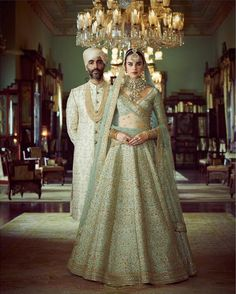 Sabyasachi just launched his 2020 new bridal collection. Sabyasachi Sultana Wedding Lehengas come in gorgeous new shades and you've got to see the dupatta! Indian Bridal Lehenga, Indian Bridal Outfits, Indian Bridal Fashion, Indian Fashion Dresses, Indian Designer Outfits, Desi Wedding Dresses, Bridal Dresses, Wedding Lehnga, Wedding Lehenga Designs