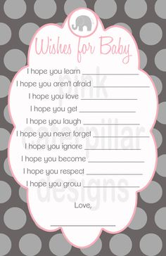 Pink and Grey Elephant Baby Shower Wishes for by PinkCaterpillar, $10.00