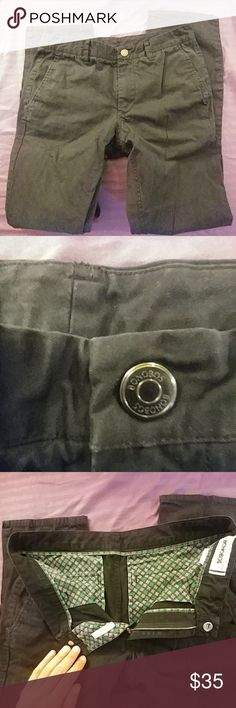 Bonobos Chinos Slim Straight Black 31x32 Worn a couple times, sharpie through the label as these were a return. In great shape, some wrinkles. Black with green and black houndstooth pattern pocket inserts. Bonobos Pants Chinos & Khakis