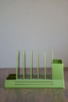 Vintage Avocado Green Plastic Desk Organizer by by SalvageandSon, $18.00