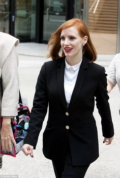 Hard at work: Jessica Chastain was pictured on the Toronto set of her new political drama miss Sloane on Sunday
