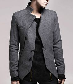 Cool Deep Grey Mens Fashion Sleek Blazer