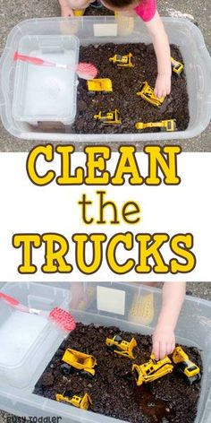 Clean the Trucks Sensory Play - What a fun sensory activity for toddlers! A great outdoor activity - so quick and easy!