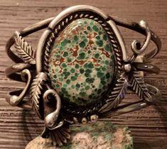 Stunning-RARE-Kewa-Jim-Moquino-Sterling-web-Turquoise-Variscite-Cuff-Bracelet