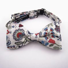 Necks Tuesday Bow Tie  Liberty Print - Red and Blue Floral