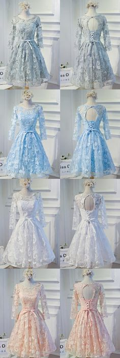 Long Sleeve Grey Lace Modest Homecoming Prom Dresses, Affordable Short Party Prom Dresses, Perfect Homecoming Dresses,