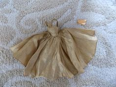 vintage 1960's Halina's Doll Fashions of Chicago minty golden metallic bow eveni