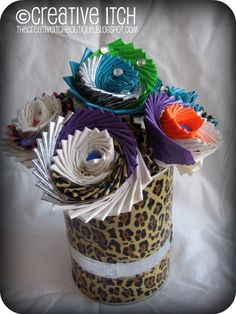 Duct tape flowers  http://1.bp.blogspot.com/-I272S1SOkTE/Tsa54tTmswI/AAAAAAAAD0c/fMhBXCQrqns/s1600/Duck+Tape+Pens+in+holder+11.18.11%253B+Edited.jpg