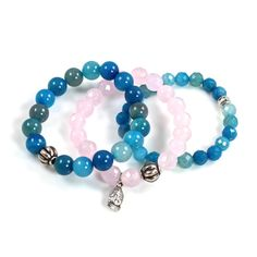 Pink and Blue Stretch Buddha Bracelets by ChrissyChapinJewelry