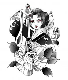 Buy Japanese Geisha with Sword in Hand by on GraphicRiver. beautiful japanese geisha with sword in hand Geisha Tattoos, Geisha Tattoo Design, Asian Tattoo Girl, Asian Tattoos, Girl Tattoos, Japanese Geisha, Japanese Art, Japanese Dragon, Japanese Kimono