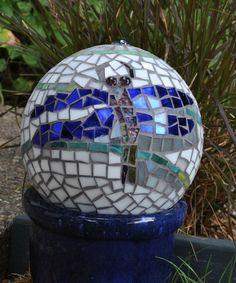 Upcycled Dragonfly Garden Gazing Ball Mosaic by midcenturymosaics, $65.00