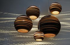 recycled cardboard pendant lamps