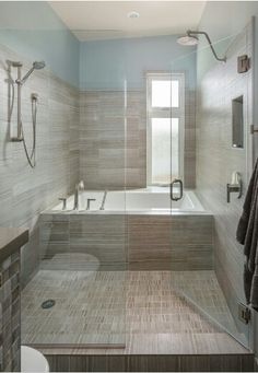 Wet room! Tub inside the shower.