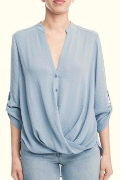 """A twisted front highlights the fluid drape of this woven shirt styled with slouchy-chic roll-up sleeves. Front button closure. Three-quarter sleeves with roll-up tabs. Back yoke with inverted box pleat. Length: 23"""" front length; 28"""" back length (size Medium) Surplice Drape Top by Lush. Clothing - Tops - Blouses & Shirts Seattle  Washington"""