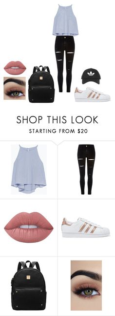 """Untitled #512"" by cuteadrin4vr ❤ liked on Polyvore featuring Zara, River Island, Lime Crime, adidas Originals and Topshop"