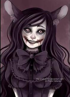 SPEEDPAINT ---> This beautiful character belongs to I love this character, she's so pretty and creepy. Emo Art, Goth Art, Arte Horror, Horror Art, Kawaii Bunny, Dark And Twisty, Ange Demon, Creepy Cute, Scary