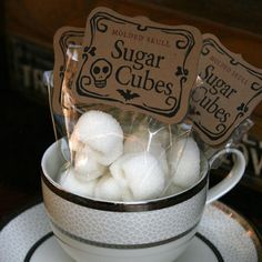 """Sugar Cubes - 6 Bags of Four Skulls   One Lump or Two?  These hauntingly sweet, molded sugar cube skulls are the perfect way to set the mood for any occasion. Keep some, share some.. why not there are six bags to go around. Each sugar cube is moulded in small batches and hand packed with love. Dem Bones Sugar Cube Skulls """"the original"""" since 2010   ~ Indulge with a nightmarish luxury in your morning coffee  ~ Set your table for a gothic tea party  ~ Hex your friends on Halloween  ~ ..."""