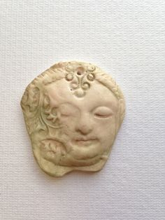 Celedon Face  Pendant-polyclay handcrafted by ornamentalobjects