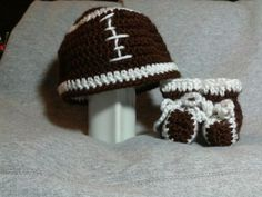 Super Bowl Football Hat and Booties