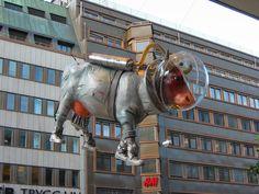 "Stockholm, Sweden - Cows on Parade 2004 - ""Kosmonaut"" - 70 life size fiberglass cow statues"