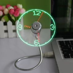Hot selling USB Mini Flexible Time LED Clock Fan with LED Light - Cool Gadget