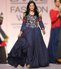 eb0b507e0a6678 Blue Cotton Dress with Embroidered Bodice